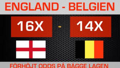 VM Fotboll 2018 Belgien vs England