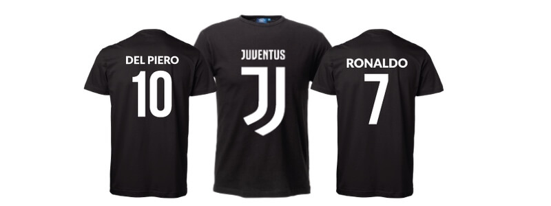 Ronaldo t-shirt, Del Piero t-shirt, Juventus