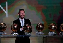 Lionel Messi med sina Ballon D´or